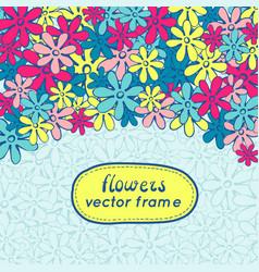 Doodle flowers frame vector
