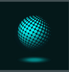dotted halftone sphere on dark blue background vector image