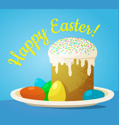 easter cake and painted eggs vector image