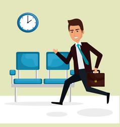 Elegant businessman in the waiting room vector