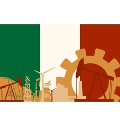 Energy and Power icons set with Italy flag vector