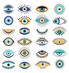 Evil eyes symbols illuminati tattoo graphic vector