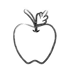 Figure delicious apple fruit with leaf vector
