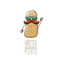 Funny cartoon cute brown hipster potato vector