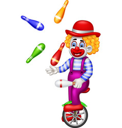 funny circus clown cartoon vector image