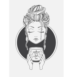 Girl drinking coffee Black and White print line vector