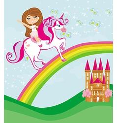 girl on a unicorn flying on a rainbow vector image