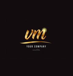 Gold alphabet letter vm v m logo combination icon vector
