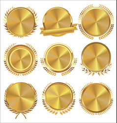 Golden medallion with laurel wreath collection vector