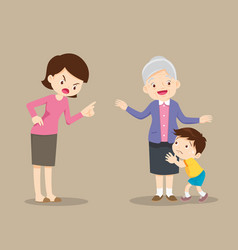 Grandmother soochild from mother scolding vector