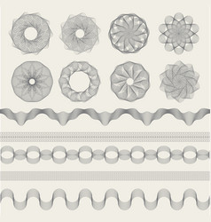 guilloche graphics vintage engraving waves vector image