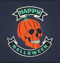 Halloween pumpkin skull vector