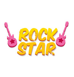 hipster cartoon retro label rock star vector image