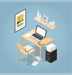Isometric home office concept vector