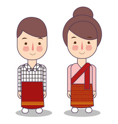 Laos wedding couple cute indonesian traditional vector