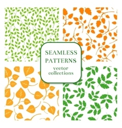 Leaves and twigs seamless patterns set vector image
