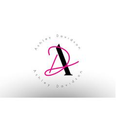 Letter ad signature minimalistic monogram logo vector