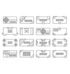 lineart letter envelope set greeting card paper vector image