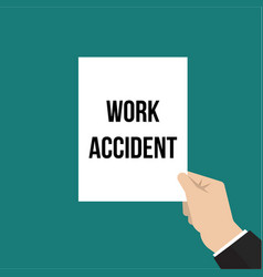 Man showing paper work accident text vector