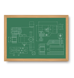 mechanical engineering drawing engineering vector image
