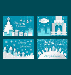 Merry christmas origami postcards house fire tree vector