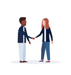 mix race man woman couple handshake casual vector image