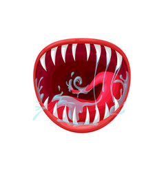 Monster mouth icon creepy yelling beast vector