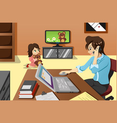 Mother working in the office vector