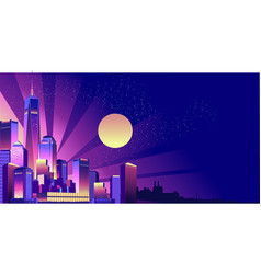 Night neon city vector