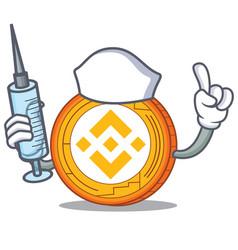 Nurse binance coin character catoon vector