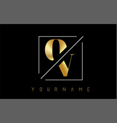 ov golden letter logo with cutted and intersected vector image