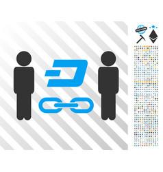 People dash blockchain flat icon with bonus vector