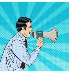 Pop Art Businessman Shouting in Megaphone vector image