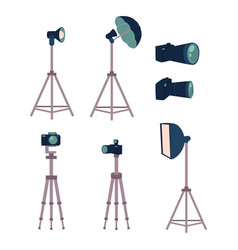 Professional photo studio equipment set - camera vector