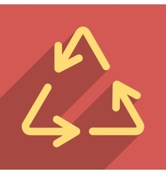 Recycle Arrows Flat Longshadow Square Icon vector image