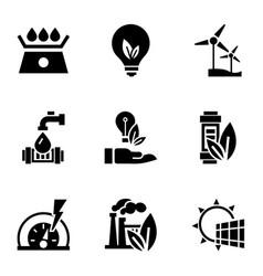 recycle energy icon set simple style vector image