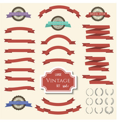 red vintage ribbon banners and labels set vector image