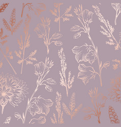 Rose gold elegant decorative floral pattern for vector