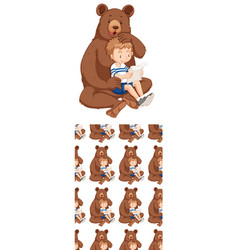 Seamless background design with bear and boy vector
