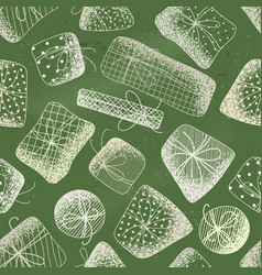 seamless pattern of chalk gifts on green vector image
