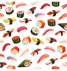 Seamless pattern sushi rolls vector