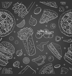 seamless pattern with different fast food vector image