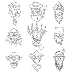 set gangster monkeys holding machine gun vector image