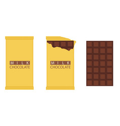 set of chocolate bar chocolate bar package vector image