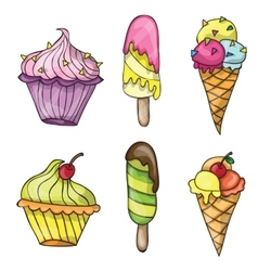 Set of colorful tasty cartoon ice cream vector image