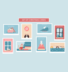 set of cute christmas cards with cats and vector image