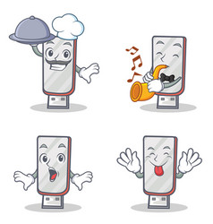 Set of flashdisk character with chef trumpet vector