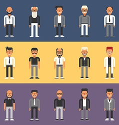 Set of Flat Design People Characters Male vector image