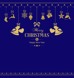 set of hanging golden christmas ornaments with vector image