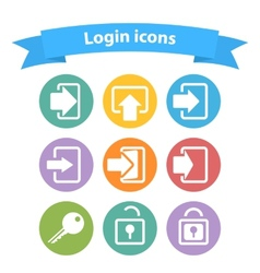 set of white login icons with vector image